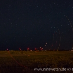 wind poer stations at night on Öland, Sweden