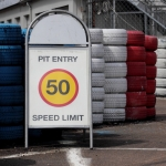 pit entry - speed limit 50 km/h