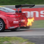 and suddenly a car is burning during STCC heat 1 at Knutstorp